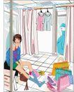 女性服饰购物0049,女性服饰购物,人物,试衣 脱鞋 坐椅上