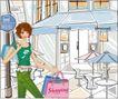 女性服饰购物0064,女性服饰购物,人物,卷发 手袋 桌椅