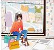 女性服饰购物0066,女性服饰购物,人物,裙子 运动鞋 购物袋