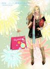 妖艳的女子0006,妖艳的女子,人物,手捏 红色 衣袋
