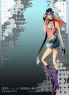 妖艳的女子0012,妖艳的女子,人物,靴子 围巾 骷髅