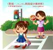 学生学习0019,学生学习,人物,停止 红灯 人行道