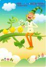 小丑与风景0002,小丑与风景,人物,坐靠 树枝 小鸟