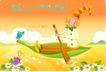 小丑与风景0014,小丑与风景,人物,船桨 小鸟 划船