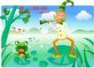 小丑与风景0015,小丑与风景,人物,青蛙 音符 吹奏