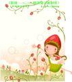 小女孩与花0001,小女孩与花,人物,采花 欢快 姑娘