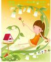 小女孩与花0004,小女孩与花,人物,躲卧 花枝 小屋