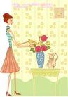 居家女人0007,居家女人,人物,花瓶 插满 玫瑰