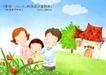 幸福家庭生活0001,幸福家庭生活,人物,花丛 幸福 家庭