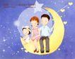 幸福家庭生活0012,幸福家庭生活,人物,流星雨 一家三口 月亮