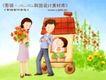 幸福家庭生活0031,幸福家庭生活,人物,女孩和爸妈 妈妈手捧鲜花 野外