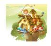 幻想魔法世界0001,幻想魔法世界,人物,小屋 屋顶 捕网