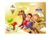幻想魔法世界0036,幻想魔法世界,人物,木马 男孩女孩 游乐园