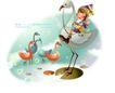 幻想魔法世界0039,幻想魔法世界,人物,天鹅 湖面 快乐的女孩