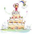 开心卡通0005,开心卡通,人物,巨形 生日 蛋糕