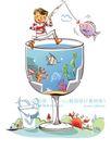 开心卡通0006,开心卡通,人物,酒杯 钓鱼 杯沿