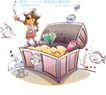 开心卡通0013,开心卡通,人物,海鱼 宝箱 钻石