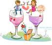 开心卡通0018,开心卡通,人物,酒瓶 干杯 饮品