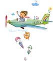 开心卡通0022,开心卡通,人物,飞行 旅行 挥手