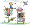 开心卡通0037,开心卡通,人物,卫星 电视 房子
