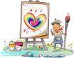 开心卡通0038,开心卡通,人物,画板 颜料 毛笔