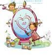 开心卡通0039,开心卡通,人物,调皮的男孩 快乐的女孩 椭圆形画板