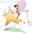 开心卡通0041,开心卡通,人物,星星 垂钓 悬空