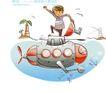 开心卡通0042,开心卡通,人物,海洋 潜艇 航行