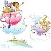开心卡通0045,开心卡通,人物,彩碗 飘浮 白云