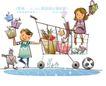 开心卡通0047,开心卡通,人物,购物车 满载 礼物
