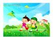 快乐儿童生活0001,快乐儿童生活,人物,小伙伴 郊游 草地