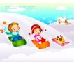 快乐儿童生活0008,快乐儿童生活,人物,冲下 雪坡 玩乐