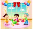 快乐儿童生活0012,快乐儿童生活,人物,气球 蝴蝶结 装饰