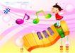 快乐儿童生活0015,快乐儿童生活,人物,音符 钢琴键 井字