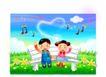 快乐儿童生活0029,快乐儿童生活,人物,长椅 并排坐 唱歌