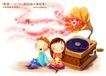 快乐小女孩0017,快乐小女孩,人物,音乐 播放机 碟片