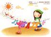 快乐小女孩0035,快乐小女孩,人物,太阳 小鸟 晒衣服的女孩