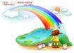 快乐小女孩0037,快乐小女孩,人物,彩虹墙 颜料桶 刷子