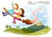 快乐小女孩0046,快乐小女孩,人物,巫术 飞行 扫把