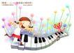 快乐小女孩0050,快乐小女孩,人物,跳跃 起奏 琴键