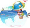 快乐署假生活0015,快乐署假生活,人物,梯绳 热气球 望远镜
