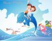 快乐署假生活0035,快乐署假生活,人物,海浪 海豚 骑豚小伙伴