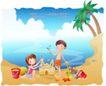 快乐署假生活0041,快乐署假生活,人物,沙滩 雕塑 城堡