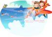 快乐署假生活0043,快乐署假生活,人物,少儿 开飞机 海上
