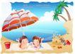 快乐署假生活0045,快乐署假生活,人物,躲卧 遮阳伞 毯子