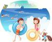快乐署假生活0049,快乐署假生活,人物,救生圈 游泳 伙伴