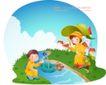 快乐署假生活0057,快乐署假生活,人物,猴子 顺流而下 雨伞