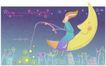 恋人插画0035,恋人插画,人物,月亮婆婆 钓星星的女孩 钓竿