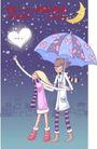 情人节卡通插画0002,情人节卡通插画,人物,打伞 星夜 摘心