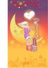 情人节卡通插画0006,情人节卡通插画,人物,月亮船 相互 爱慕